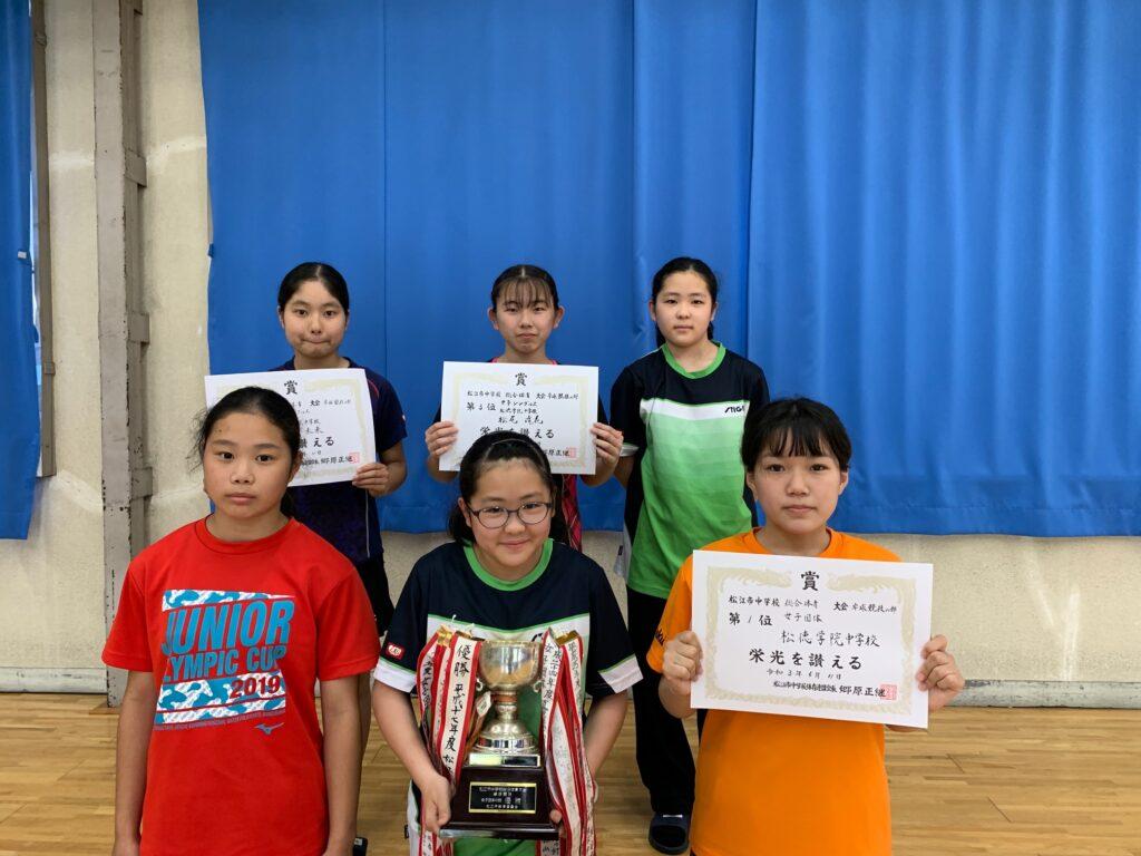 中学校卓球 松江市総合体育大会の結果01